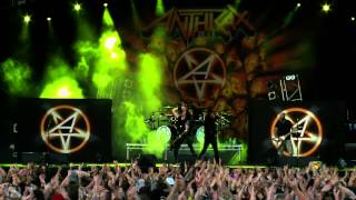 """Anthrax perform """"Antisocial"""" as part of their performance at Bloods..."""