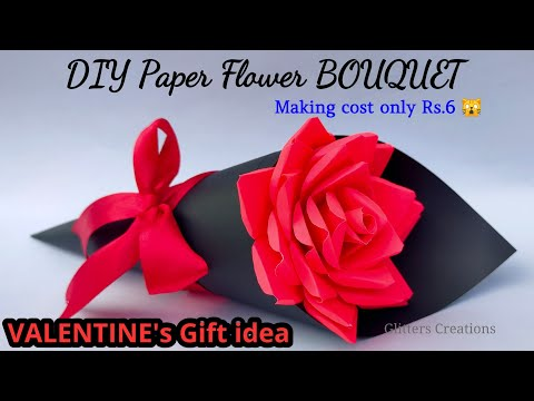 DIY Paper Flower BOUQUET/ Birthday gift ideas/Flower Bouquet making at Homemade Easy Craft (Cute)