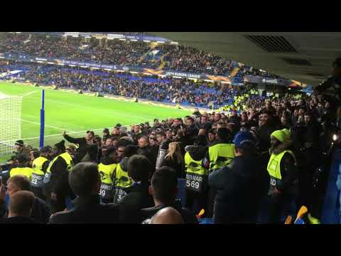 Chelsea and PAOK fans brawl. Europa league. 29/11/2018