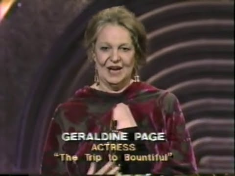 Geraldine Page winning Best Actress for The Trip to Bountiful