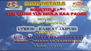 Tum Mujhe Yu Bhula Na Paoge Mo Rafi Song Hindi Karaoke with Hindi Lyrics Dj Raj & Brothers Hindi K