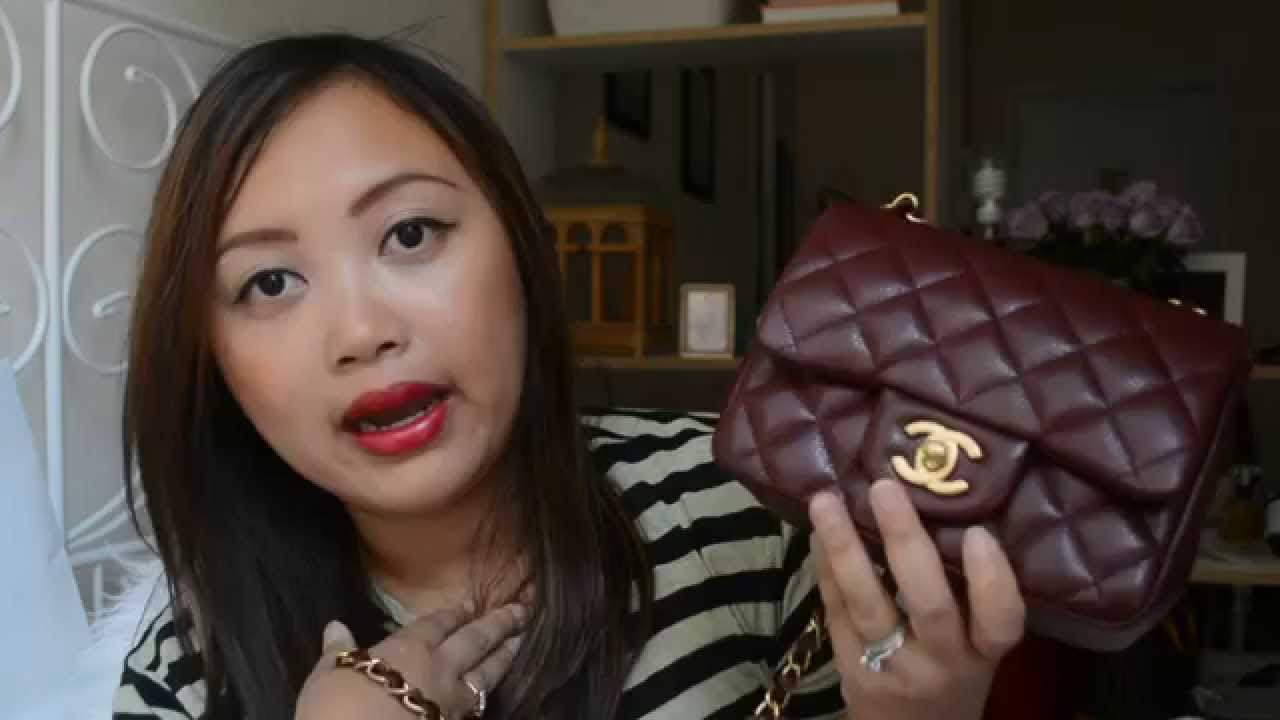 c380a2daec4d Reveal: Chanel Mini Square Bag in Burgundy - YouTube