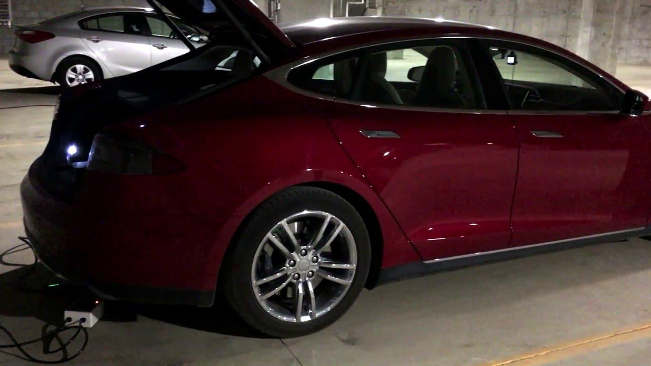 Tesla Model S Parkade Dual 110V Outlet Charging - YouTube