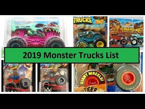 Monster Jam Hot Wheels 2019 Monster Trucks List Youtube