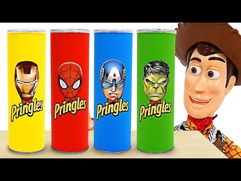 프링글스를 먹으면 슈퍼히어로 헐크, 스파이더맨, 아이언맨으로 변신을 해요! | 두두팝토이