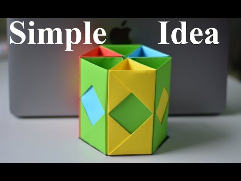 Make Pen Stand by Color Paper   Waste Material Reuse Idea   Best Out of Waste   MY CRAFTS