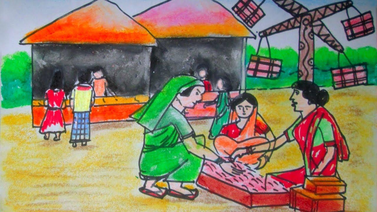 How To Draw Village Fair Scenery Pohela Boishakh Boishakhi Mela Drawing For Art Compitition