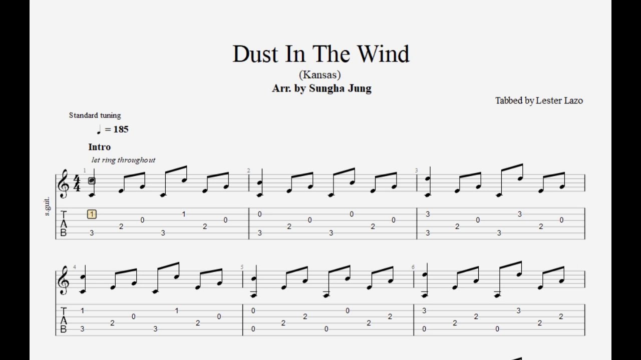Dust In The Wind (Arr. by Sungha Jung) - Transcribed by Lester Lazo + Free PDF Tab
