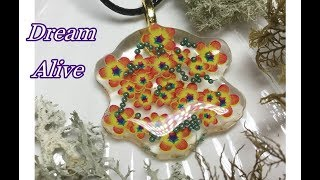 Resin Art Jewelry 레진아트 - 가을 들꽃 스티커로 목걸이 만들기 Making a Necklace with Wild Flower Stickers