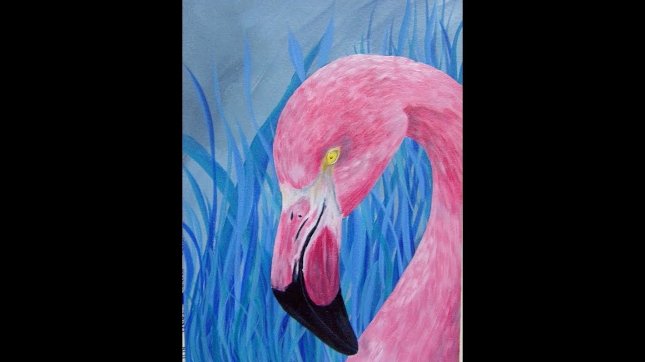 How to Paint a Blue Grass Pink Flamingo in Acrylics ...