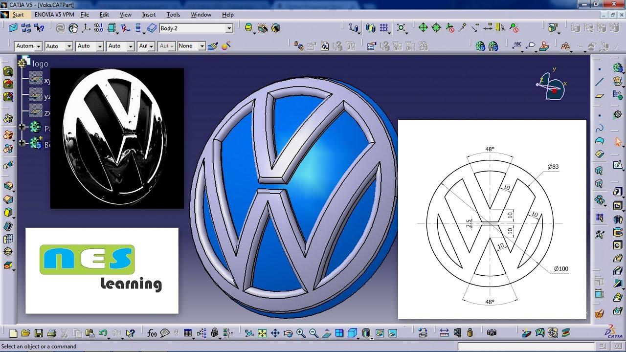 Catia v5v6 tutorial volkswagen logo new design youtube catia v5v6 tutorial volkswagen logo new design sciox Gallery