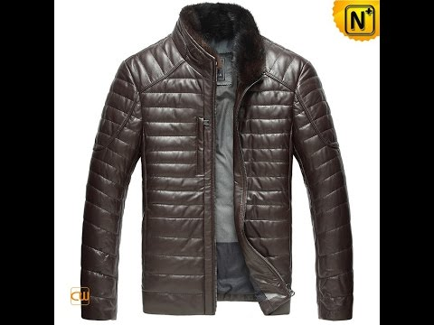 Men's Quilted Leather Down Jacket CW860035   Jackets.cwmalls.com