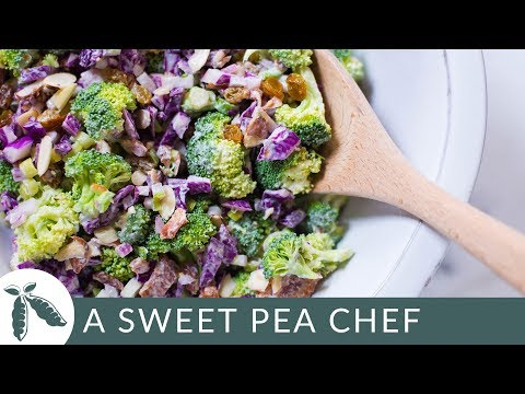 Healthy Broccoli Salad with Greek Yogurt Dressing | Easy Salads | A Sweet Pea Chef