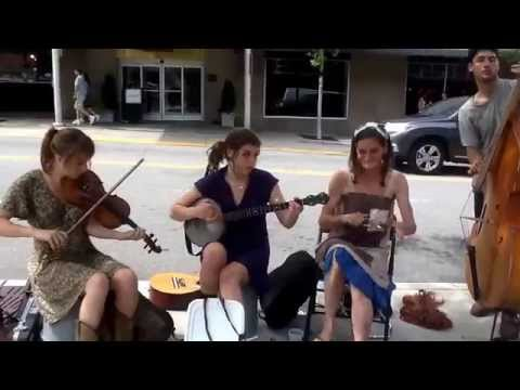 The Flat Pennies, old time southern Appalachian music busking Asheville, NC