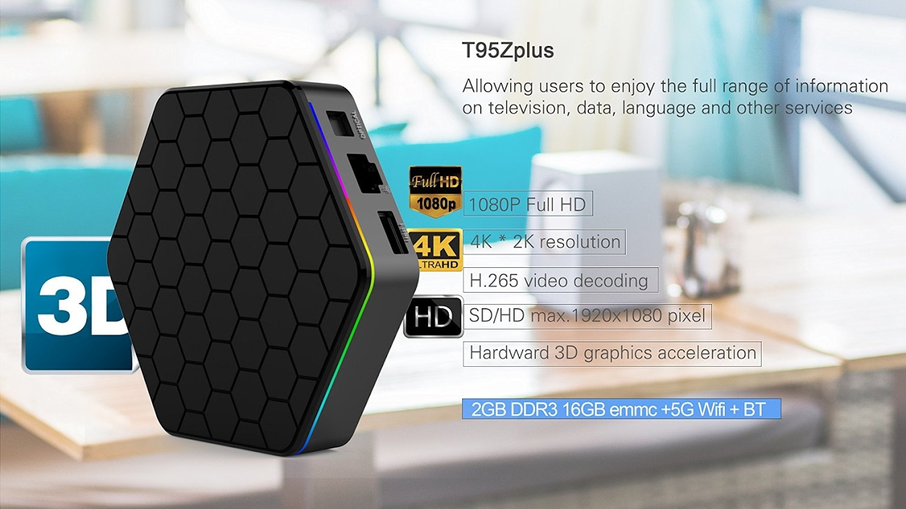 EVANPO T95Z Plus TV Box Amlogic S912 Octa Core - 2G + 16G US