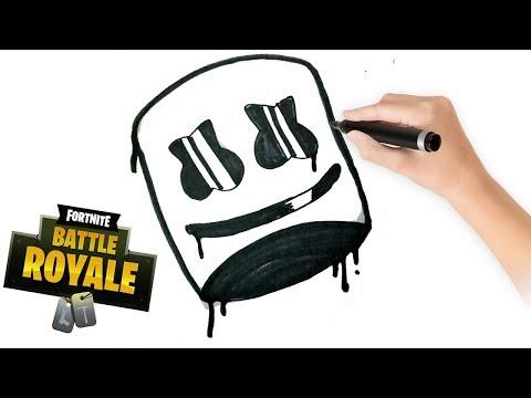 Como Dibujar A Marshmello Paso A Paso GRAFFITI FORNITE