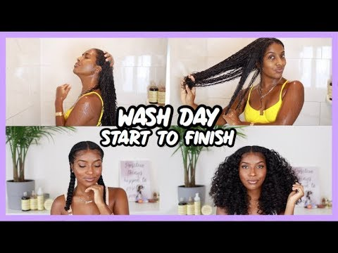 WASH DAY ROUTINE   MY SIGNATURE PIGTAIL BRAIDS DETAILED TUTORIAL