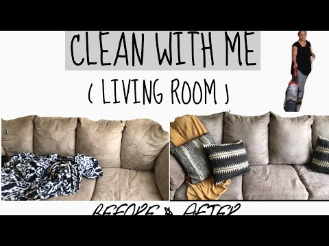HOW TO CLEAN A MICROFIBER COUCH / CLEAN WITH ME / LIVING ROOM EDITION.