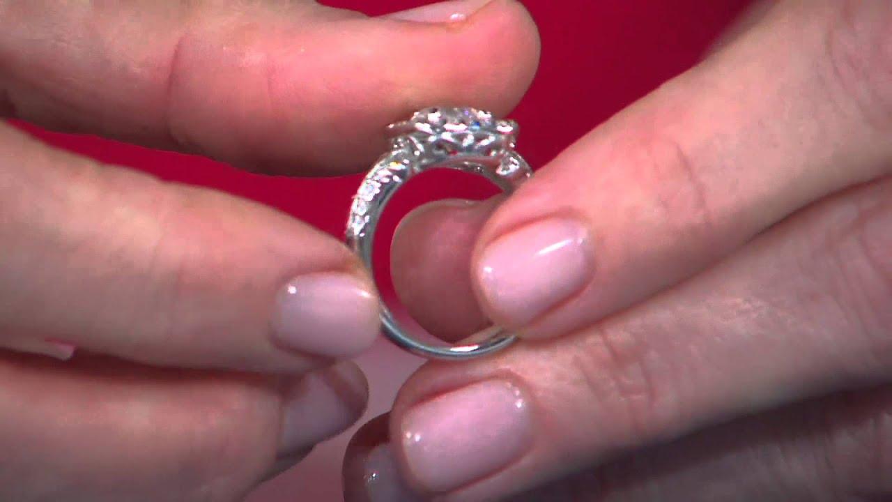 Epiphany Diamonique With Cushion Halo Milgrain Ring Jennifer Coffey