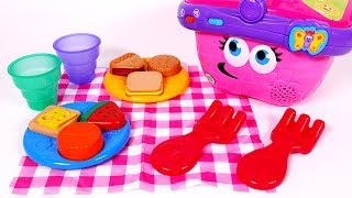 Picnic Basket Toy Playset Pretend Play Food Learn Shapes for Children