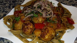 Лапша с фрикадельками по-азербайджански 🌟 Küftə ilə əriştə 🌟 Meatballs with rye noodles