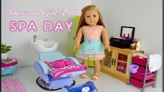 American Girl Doll Setting up SPA DAY room Tour for Hey its Whitney