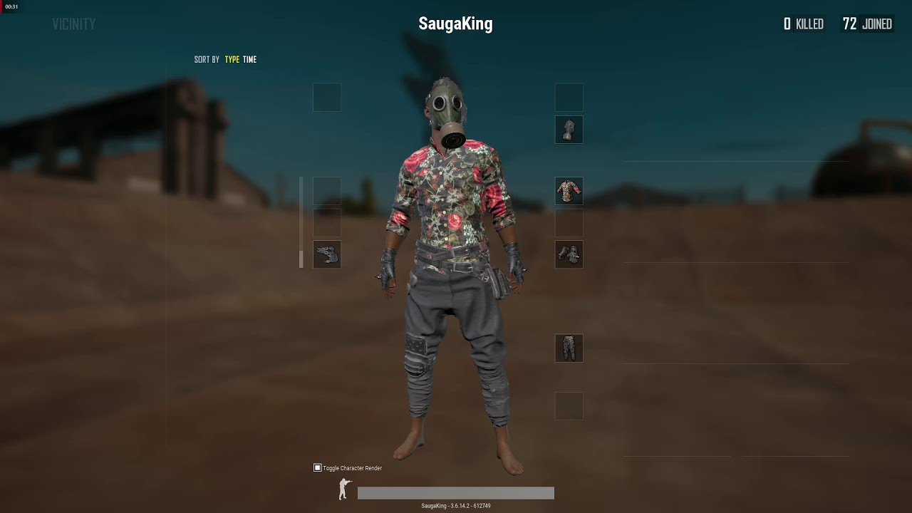 Pubg Black Floral Shirt And Vintage Gas Mask Showcase In Game