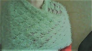 Пушистый палантин МК по вязанию планки
