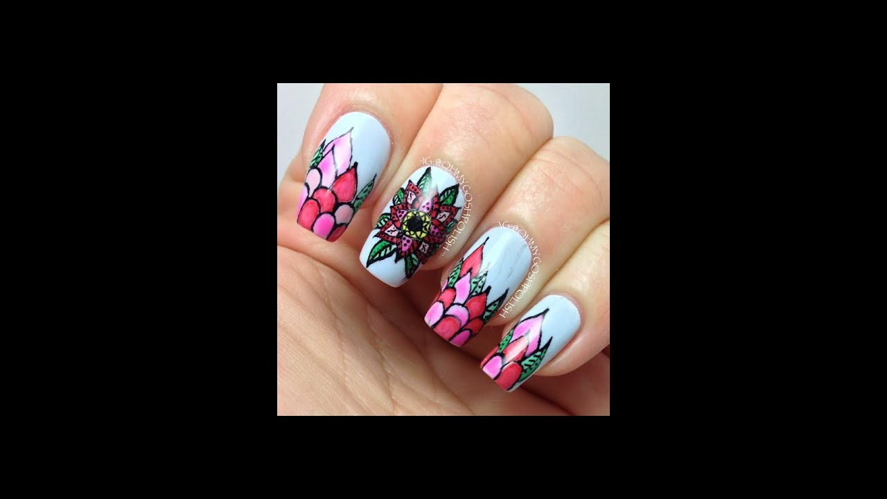 Intricate Flower Nail art - YouTube