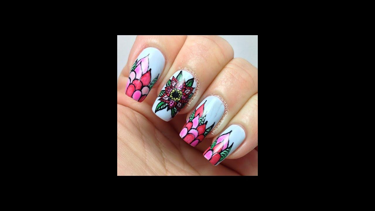 intricate flower nail art