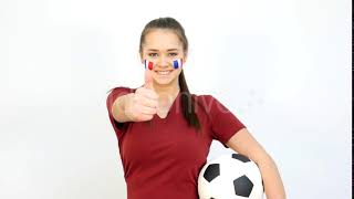 Soccer Female With French Flag | Stock Footage - Videohive