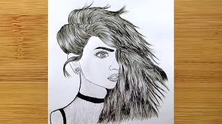 a Girl Half Hidden Face with Charming Hairstyle Drawing ⚫ How to Draw a Attractive Girl Half Face