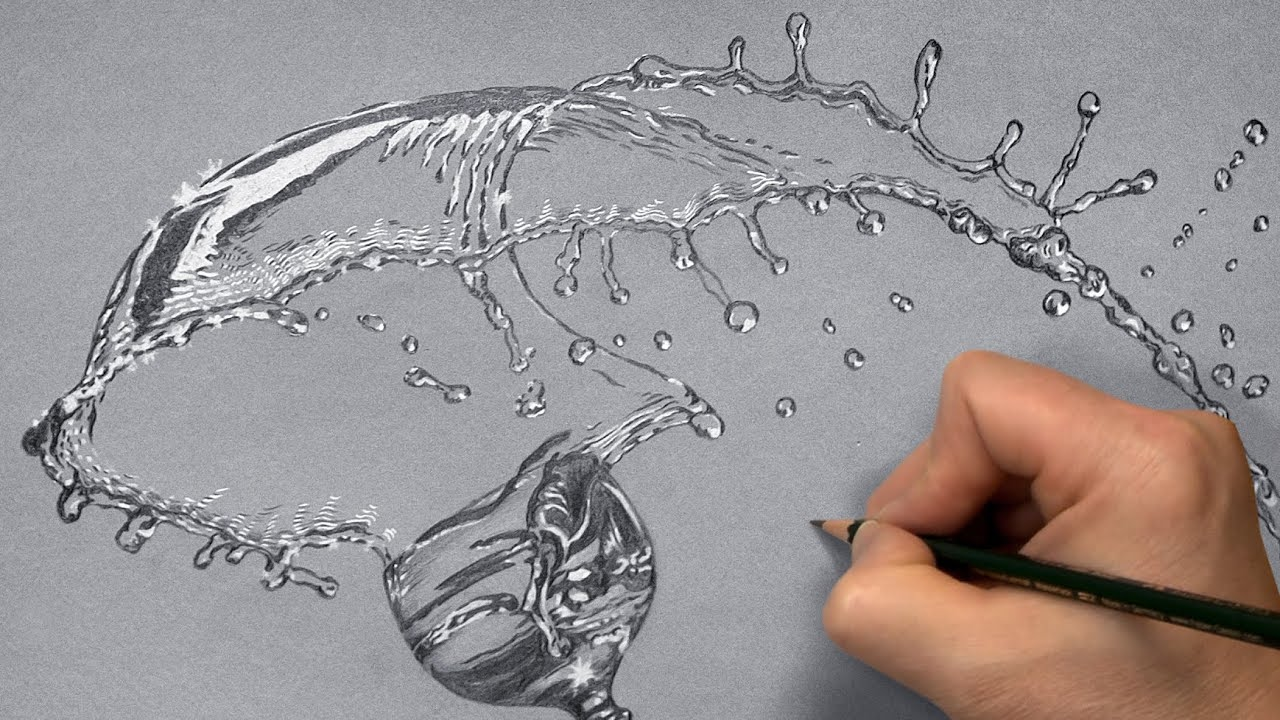 How I draw a Glass with Splashing Water - Time Lapse ...
