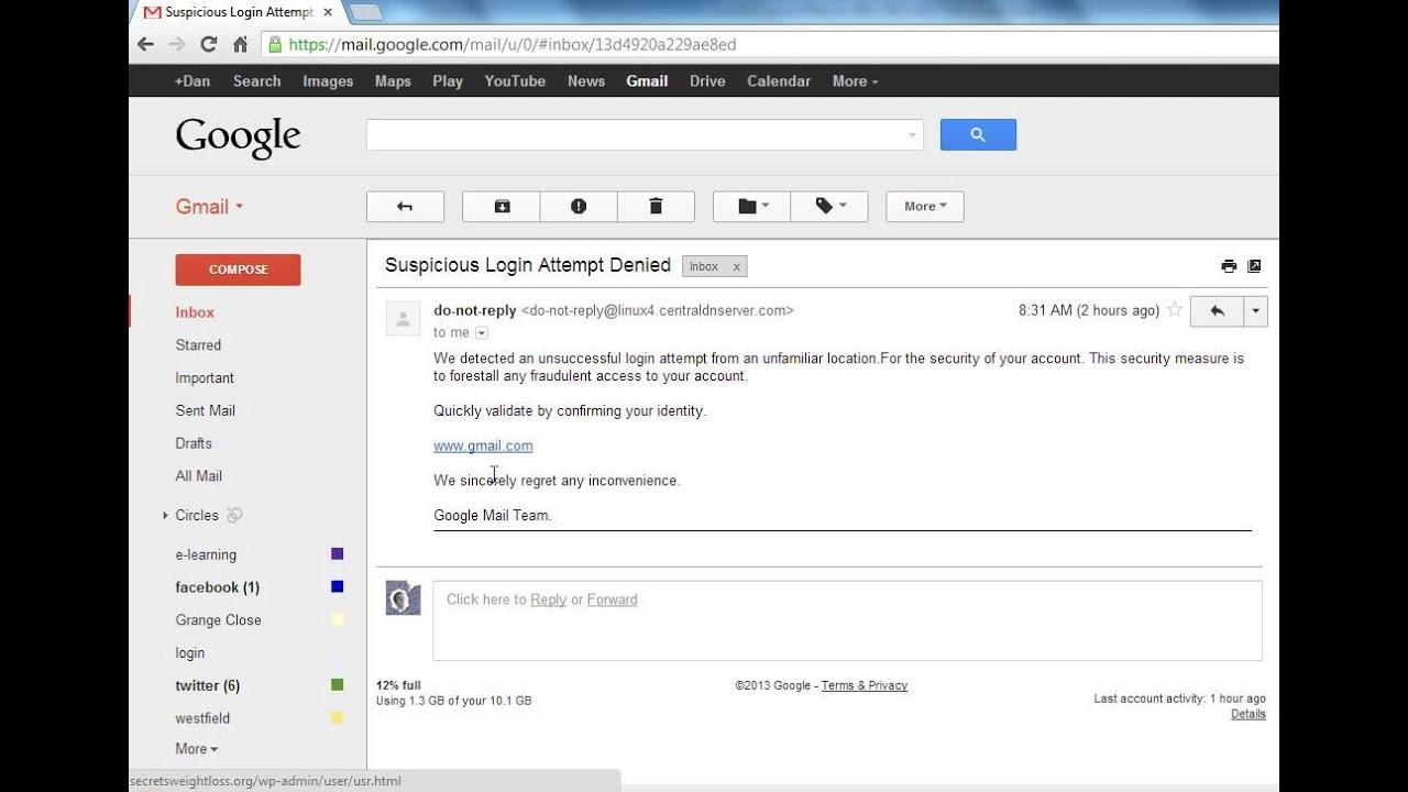 Phishing Example Youtube