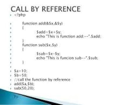 PHP-CALL BY REFERENCE