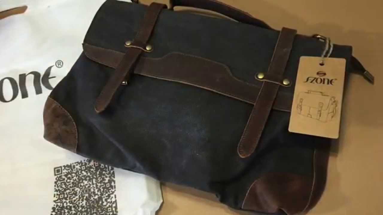 S Zone Casual Canvas Leather Traveling Laptop School Messenger Bag Unboxing You