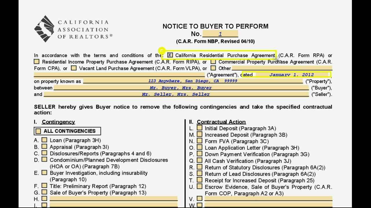 Step By Step How To Fill Out The California Residential Buyers