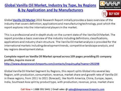 Vanilla Oil Industry: 2016 Market Size, Share, Trends, Growth, 2021 Future Market