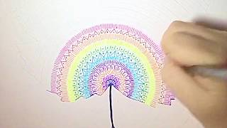 How to draw a big rainbow mandala leaf