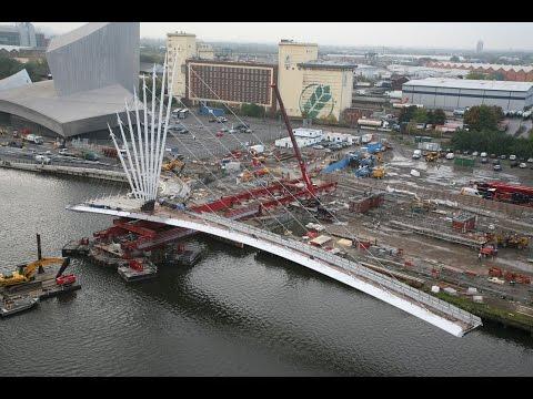 Ramboll MediaCityUK footbridge construction timelapse - Media City, Salford, Manchester UK