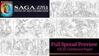 Saga: Fire & Water Fantasy Art Adult Coloring Book - Full Spread of 25 continuous pages.