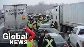Multi-car pile-ups shut down North America's busiest highway