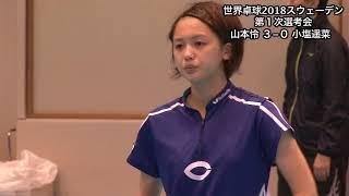 【ダイジェスト】世界卓球2018 女子日本代表第1次選考会 山本怜vs小塩遥菜 山本怜 検索動画 4