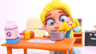FROZEN ELSA CHEF ❤ Superhero Babies, Hulk & Frozen Elsa Cartoons & Play Doh Stop Motion Movies