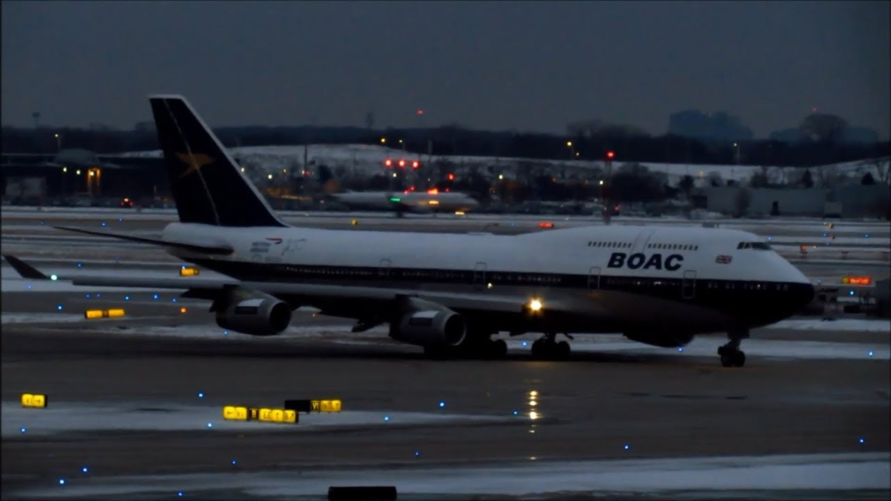 British Airways BOAC Retro Livery Boeing 747-400 [G-BYGC] Taxiing at ORD  for Departure [02 20 2019]
