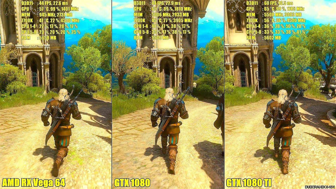The Witcher 3 AMD RX Vega 64 Vs GTX 1080 Vs GTX 1080 TI Frame Rate  Comparison
