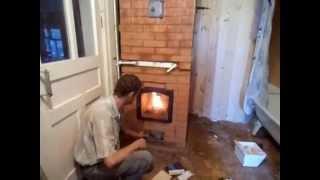 видео Отопление дома из бруса. Французская буржуйка или печь камин Tomera SUPRA.