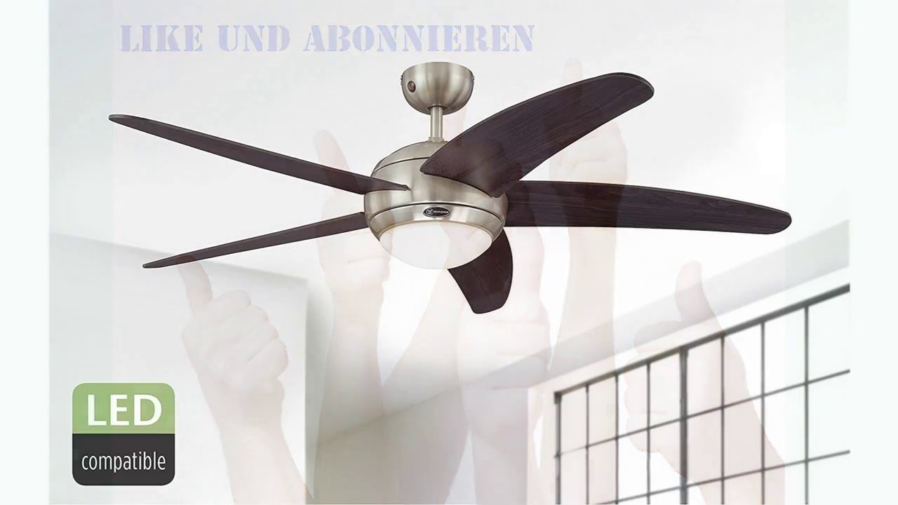 Deckenventilator mit Licht und Fernbedienung WESTINGHOUSE BENDAN Weiß 132 cm