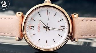 Đồng hồ Fossil #41   Review đồng hồ Fossil ES4699 mẫu máy pin kiểu dáng mỏng chỉ 7mm mạ vàng hồng