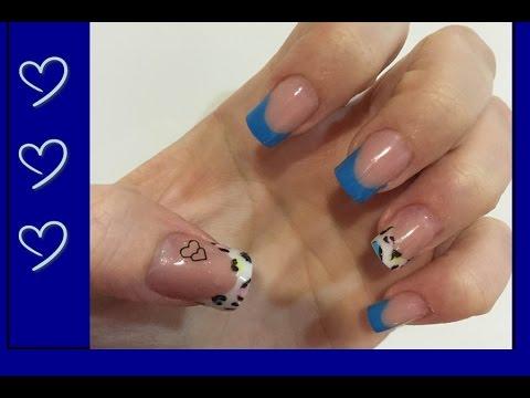 diseo uas acrlicas azules y animal print de colores uas acrlicas en casa youtube